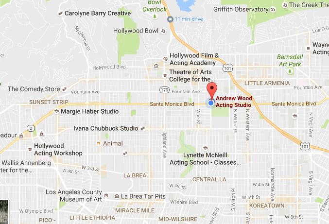 Google Map of Andrew Wood Acting Studio 1122 N Gower St Los Angeles CA 90038